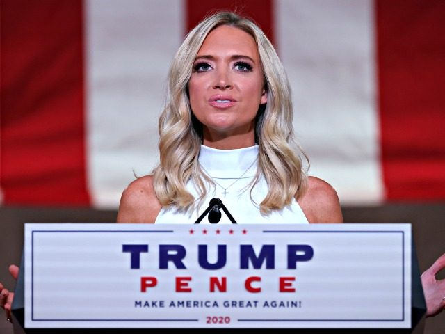 WASHINGTON, DC - AUGUST 26: White House Press Secretary Kayleigh McEnany pre-records her address to the Republican National Convention from inside an empty Mellon Auditorium on August 26, 2020 in Washington, DC. The novel coronavirus pandemic has forced the Republican Party to move away from an in-person convention to a …