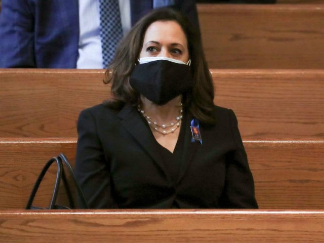 Sen. Kamala Harris waits for the program to start at the funeral service for the late Rep. John Lewis, D-Ga., at Ebenezer Baptist Church in Atlanta, Thursday, July 30, 2020. (Alyssa Pointer/Atlanta Journal-Constitution via AP, Pool)