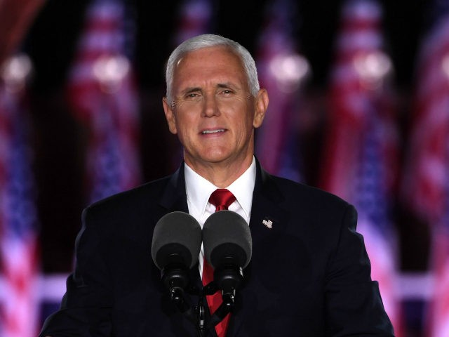 US Vice President Mike Pence speaks during the third night of the Republican National Convention at Fort McHenry National Monument in Baltimore, Maryland, August 26, 2020. (Photo by SAUL LOEB / AFP) (Photo by SAUL LOEB/AFP via Getty Images)