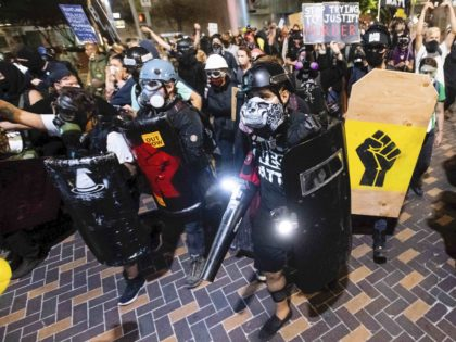Mostly peaceful Portland protest (Noah Berger / Associated Press)