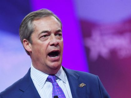 Former UK Independence Party leader and Brexit spearhead Nigel Farage speaks during the annual Conservative Political Action Conference (CPAC) in National Harbor, Maryland, on March 1, 2019. (Photo by MANDEL NGAN / AFP) (Photo by MANDEL NGAN/AFP via Getty Images)