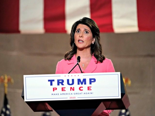 Former U.N. Ambassador Nikki Haley speaks during the Republican National Convention from the Andrew W. Mellon Auditorium in Washington, Monday, Aug. 24, 2020. (AP Photo/Susan Walsh)