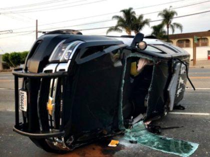 Overturned Police Cruiser
