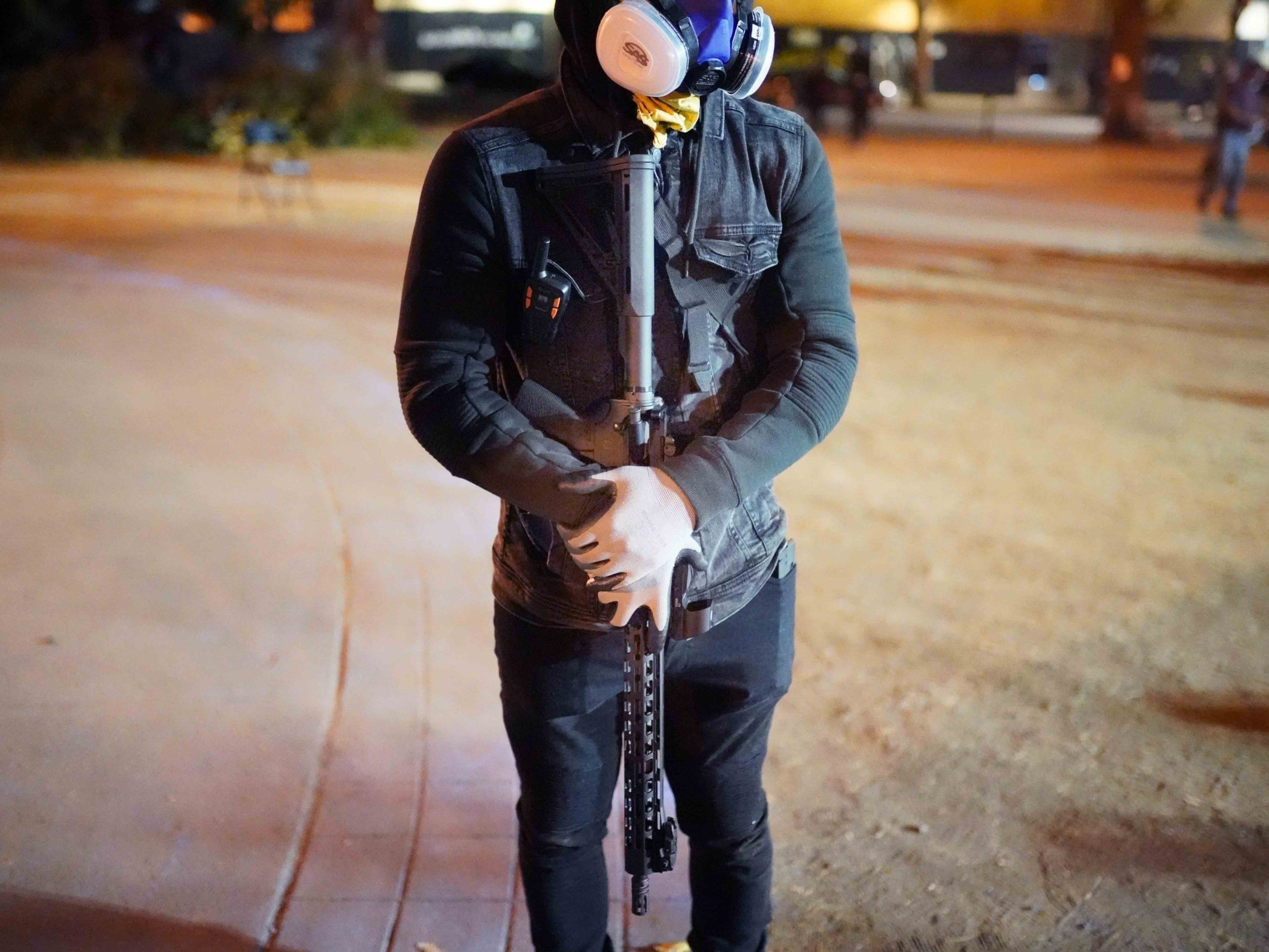 Portland mostly peaceful protester AR-15 (Nathan Howard / Getty)