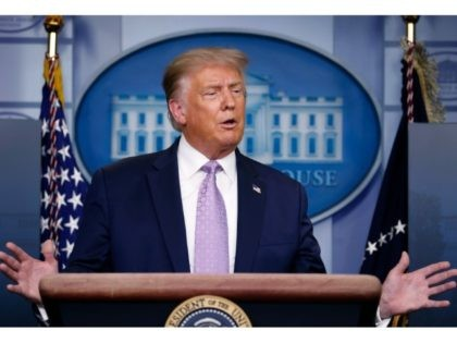 President Donald Trump speaks during a briefing with reporters in the James Brady Press Briefing Room of the White House, Wednesday, Aug. 5, 2020, in Washington. (AP Photo/Andrew Harnik)