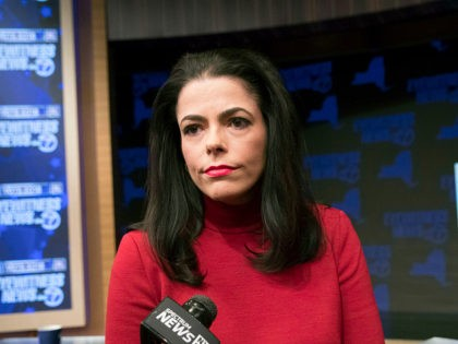 Republican candidate for New York State Senate Chele Farley speaks to reporters after the New York State Senate debate hosted by WABC-TV, Thursday, Oct. 25, 2018, in New York. (AP Photo/Mary Altaffer, Pool)