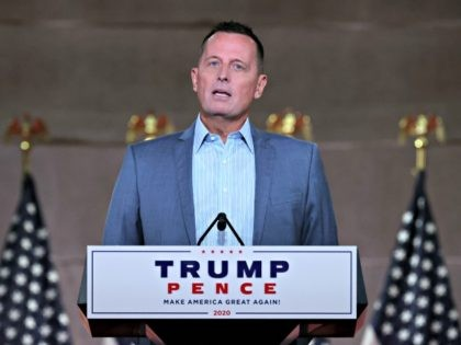 WASHINGTON, DC - AUGUST 26: Former Acting Director of National Intelligence and current Republican National Committee senior advisor Richard Grenell pre-records his address to the Republican National Convention from inside an empty Mellon Auditorium on August 26, 2020 in Washington, DC. The novel coronavirus pandemic has forced the Republican Party …