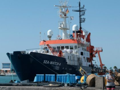The new Sea-Watch 4 ship is pictured on August 7, 2020 in the port of Burriana, where it is carrying maintenance operations before leaving on its first mission. - The NGO Sea Watch announced its partnership with Doctors without Borders on the Sea-Watch 4 ship to provide medical care to …