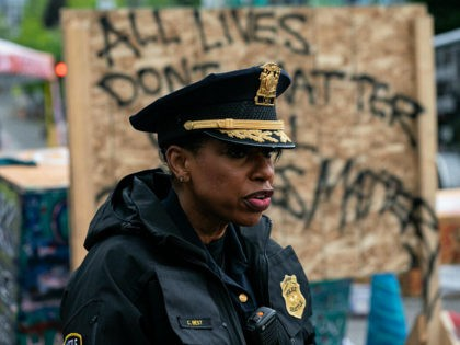 SEATTLE, WA - JULY 01: Seattle Police Chief Carmen Best addresses the press as city crews dismantle the Capitol Hill Organized Protest (CHOP) area outside of the Seattle Police Department's vacated East Precinct on July 1, 2020 in Seattle, Washington. Police reported making at least 31 arrests while clearing the …
