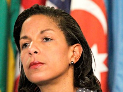 This June 7, 2012 file photo shows U.S. Ambassador to the U.N. Susan Rice listening during a news conference at the UN. The Obama administration on Monday rejected a demand from a senior Republican lawmaker that the U.S. ambassador to the United Nations to resign. Rep. Peter King of New …