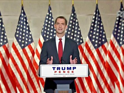 CHARLOTTE, NC - AUGUST 27: (EDITORIAL USE ONLY) In this screenshot from the RNC's livestream of the 2020 Republican National Convention, U.S. Sen. Tom Cotton (R-AR) addresses the virtual convention on August 27, 2020. The convention is being held virtually due to the coronavirus pandemic but will include speeches from …