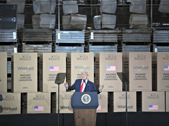 CLYDE, OHIO - AUGUST 06: U.S. President Donald Trump speaks to workers at a Whirlpool manufacturing facility on August 06, 2020 in Clyde, Ohio. Whirlpool is the last remaining major appliance company headquartered in the United States. With more than 3,000 employees, the Clyde facility is one of the world's …