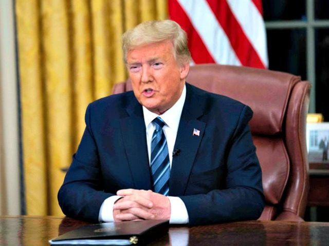 US President Donald Trump addresses the nation from the Oval Office about the widening Coronavirus crisis on March 11, in Washington, DC. Doug Mills/New York Times/Pool/Getty Image