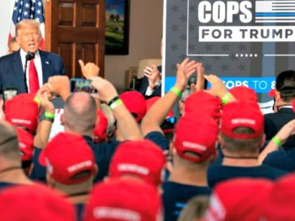 US President Donald Trump delivers remarks to the City of New York Police Benevolent Association at the Trump National Golf Club in Bedminster, NJ, on August 14, 2020. (Photo by JIM WATSON / AFP) (Photo by JIM WATSON/AFP via Getty Images)