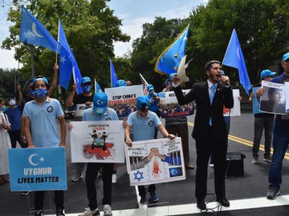 Uyghurs protest human rights violations by China in Washington, DC, on August 29, 2020.