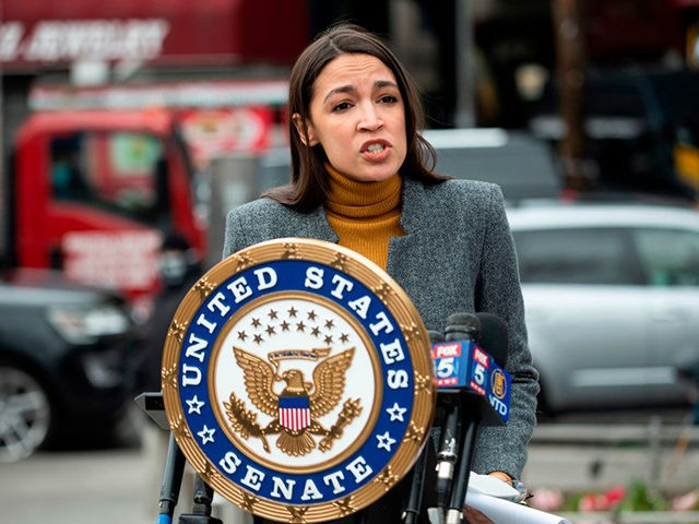Democratic Congresswoman from New York Alexandria Ocasio-Cortez speaks during a press conference in the Corona neighbourhood of Queens on April 14, 2020 in New York City. - Senate Minority Leader Chuck Schumer and Democratic Rep. Alexandria Ocasio-Cortez hold a press conference amid the coronavirus pandemic to call on the Federal …