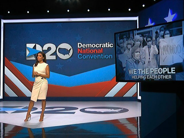 In this image from video, Eva Longoria, serving as moderator, speaks during the first night of the Democratic National Convention on Monday, Aug. 17, 2020. (Democratic National Convention via AP)