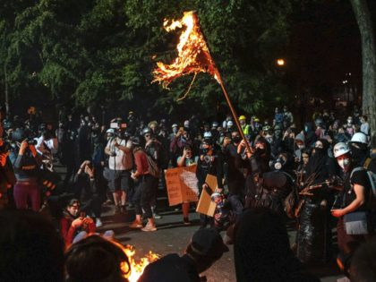 burning flag Portland (Alisha Jucevic / AFP / Getty)