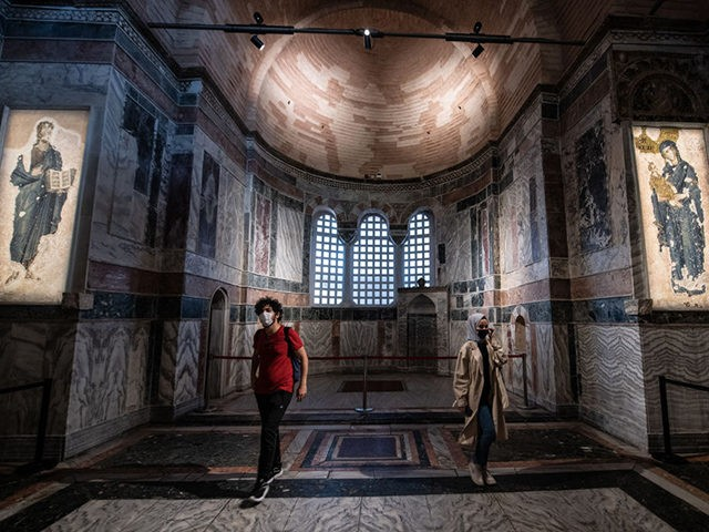 ISTANBUL, TURKEY - AUGUST 21: Tourists visit the Chora (Kariye) Church Museum, the 11th century church of St. Savior on August 21, 2020 in Istanbul, Turkey. Istanbul's famous Chora Church Museum will be reconverted to a mosque and open to muslim worship as ordered by a Presidential decree. The decision …