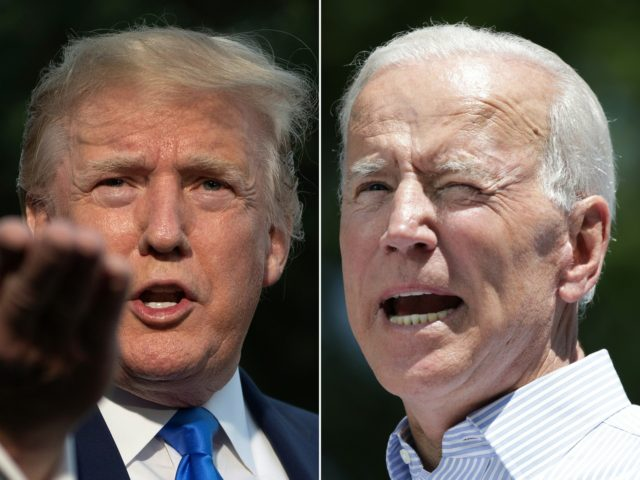 COMBO) This combination of pictures created on June 11, 2019 shows US President Donald Trump(L) as he departs the White House, in Washington, DC, on June 2, 2019, and former US vice president Joe Biden during the kick off his presidential election campaign in Philadelphia, Pennsylvania, on May 18, 2019. …
