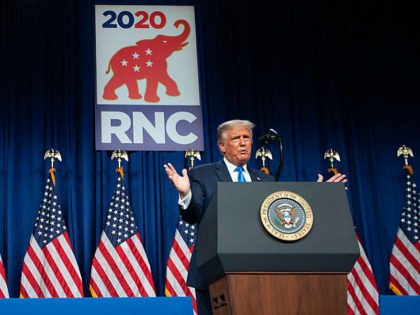 US President Donald Trump speaks during the first day of the Republican National Convention, rnc, on August 24, 2020, in Charlotte, North Carolina. - President Donald Trump went into battle for a second term Monday with his nomination at a Republican convention where he will draw on all his showman's …