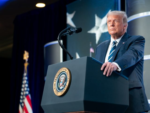 President Donald J. Trump delivers remarks at the 2020 Council for National Policy Meeting Friday, Aug. 21, 2020, at the Ritz-Carlton in Pentagon City, Va. (Official White House Photo by Tia Dufour)