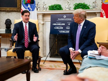 WASHINGTON, DC - AUGUST 05: U.S. President Donald Trump meets with Arizona Governor Doug Ducey (L) in the Oval Office of the White House on August 5, 2020 in Washington, DC. (Photo by Doug Mills-Pool/Getty Images)