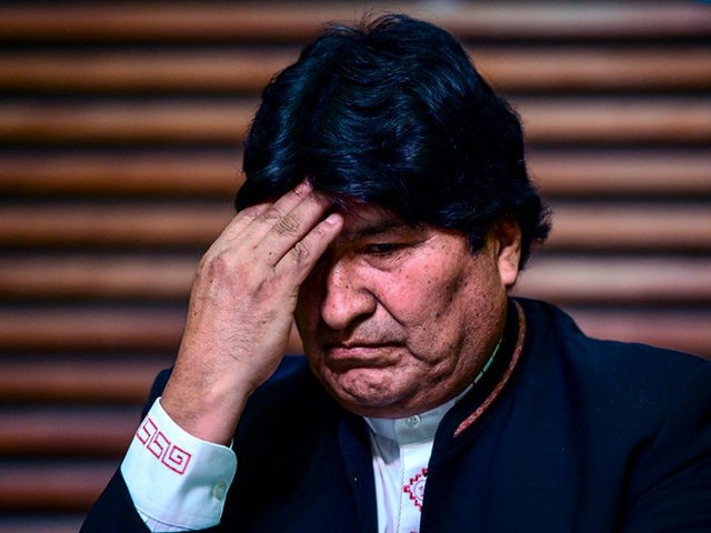 Former president of Bolivia Evo Morales gestures during a press conference in Buenos Aires, on February 21, 2020. - Bolivia's supreme electoral court on Thursday disqualified exiled former president Evo Morales from running for a Senate seat in May's general election, saying he did not meet residency requirements. (Photo by …