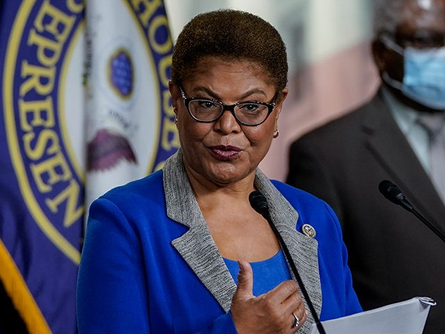 WASHINGTON, DC - JULY 22: Chair of the Congressional Black Caucus (CBC) Rep. Karen Bass (D-CA) speaks during a news conference to discuss an upcoming House vote regarding statues on Capitol Hill on July 22, 2020 in Washington, DC. House Democrats have introduced a bill that would replace the bust …