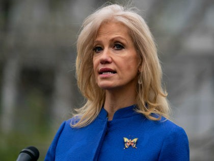White House counselor Kellyanne Conway talks to reporters about the coronavirus at the White House, Wednesday, April 15, 2020, in Washington. (AP Photo/Evan Vucci)
