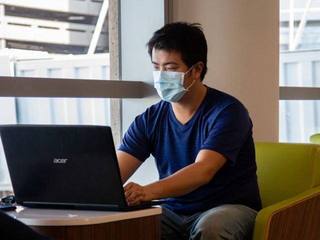 PHOENIX, AZ - MARCH 14: A passenger uses his computer while wearing a protective face mask at the Phoenix International Airport on March 14, 2020 in Phoenix, Arizona. Passengers are wearing masks to avoid the spread of the coronavirus (COVID-19). (Photo by Carol Coelho/Getty Images)