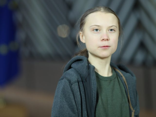 Swedish environmentalist Greta Thunberg speaks during a meeting at the Europa building in Brussels on March 5, 2020. (Photo by KENZO TRIBOUILLARD / AFP) (Photo by KENZO TRIBOUILLARD/AFP via Getty Images)