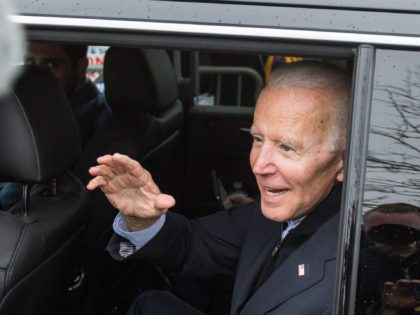 DORCHESTER, MA - APRIL 18: Former Vice President Joe Biden waves while leaving Stop & Shop after speaking in support of striking union workers on April 18, 2019 in Dorchester, Massachusetts. Thousands of unionized Stop & Shop workers across New England walked off the job last week in an ongoing …