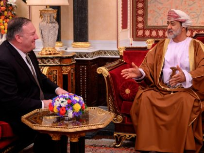 Oman's Sultan Haitham bin Tariq meets with US Secretary of State Mike Pompeo (L) at al-Alam palace in the capital Muscat on February 21, 2020. (Photo by ANDREW CABALLERO-REYNOLDS / AFP) (Photo by ANDREW CABALLERO-REYNOLDS/AFP via Getty Images)