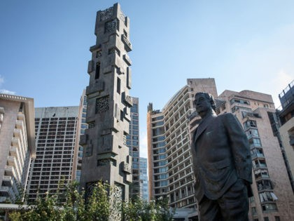 BEIRUT, LEBANON - AUGUST 18: A statue of Lebanon's former prime minister Rafik al-Hariri is seen near the site of the 2005 bombing that killed him on August 18, 2020 in Beirut, Lebanon. The Special Tribunal for Lebanon delivered a guilty verdict against one of four men on trial for …