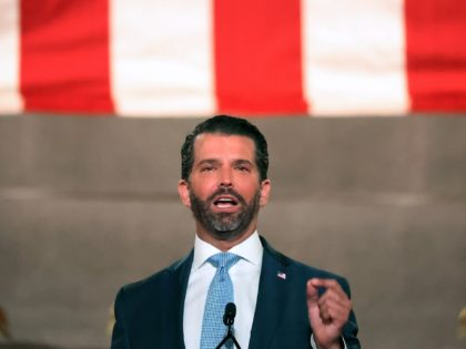 WASHINGTON, DC - AUGUST 24: Donald Trump Jr. pre-records his address to the Republican National Convention at the Mellon Auditorium on August 24, 2020 in Washington, DC. The novel coronavirus pandemic has forced the Republican Party to move away from an in-person convention to a televised format, similar to the …
