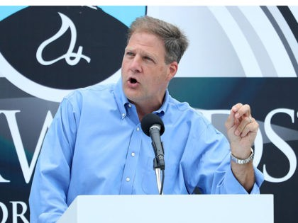 LOUDON, NEW HAMPSHIRE - AUGUST 02: New Hampshire Governor Chris Sununu speaks on stage prior to the NASCAR Cup Series Foxwoods Resort Casino 301 at New Hampshire Motor Speedway on August 02, 2020 in Loudon, New Hampshire. (Photo by Maddie Meyer/Getty Images)
