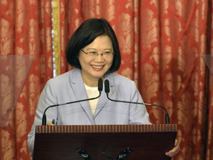 Taiwan President, Tsai Ing-wen speaks during a press conference at the Taipei Guest House on August 20, 2016. Tsai, who was inaugurated on May 20 as Taiwan's first female president, will mark her first 100 days in office next week and asked the public not to judge her job performance …