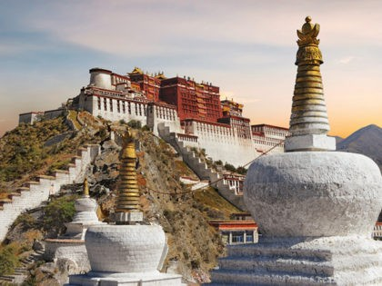 The Potala Palace in Tibet with beautiful sunset sky