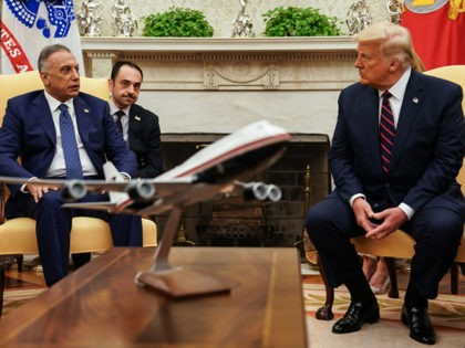 WASHINGTON, DC - AUGUST 20: U.S. President Donald Trump (R) hosts Iraqi Prime Minister Mustafa Al-Kadhimi in the Oval Office at the White House August 20, 2020 in Washington, DC. One day before the meeting, Trump announced that he will allow UN Security Council sanctions to 'snap back' into place …
