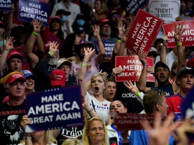 Supporters of President Donald Trump cheer as Vice President Mike Pence speaks during a campaign rally at the BOK Center, Saturday, June 20, 2020, in Tulsa, Okla. (AP Photo/Evan Vucci)