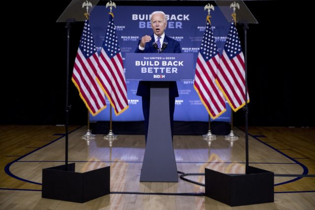 "In this July 28, 2020, file photo, Democratic presidential candidate former Vice President Joe Biden speaks at a campaign event at the William ""Hicks"" Anderson Community Center in Wilmington, Del. Biden's latest gaffes concerning Black Americans risk exacerbating his challenges with young Black voters who have been more skeptical of …"