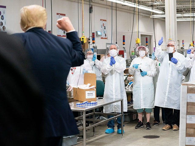 President Donald J. Trump participates in a tour of testing swab production facilities Friday, June 5, 2020, at Puritan Medical Products in Guilford, Maine. (Official White House Photo by Joyce N. Boghosian)