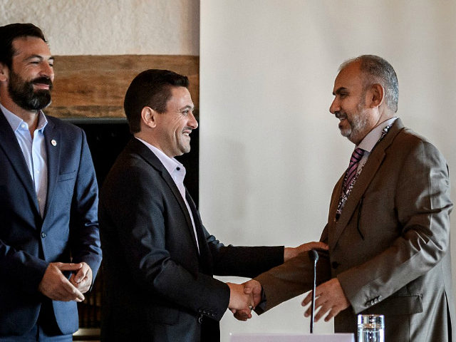 Head of the Houthi prisoner exchange committee Abdulkader al-Murtada (C) shakes hands with Head of the Yemeni government delegation Hadi Haig (R) between ICRC Director for the Near and Middle East Fabrizio Carboni (L) and UN Special Envoy for Yemen Martin Griffiths at the end of a week-long meeting on …