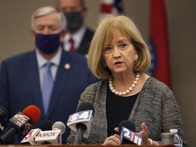 St. Louis Mayor Lyda Krewson speaks during a news conference Thursday, Aug. 6, 2020, in St. Louis. Officials announced St. Louis has been added to the list of cities that will receive assistance from Operation Legend, a federal anti-crime program launched to help city police in their effort to reduce …
