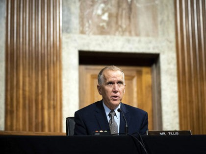Sen. Thom Tillis, R-N.C., speaks during a Senate Judiciary Committee oversight hearing on Capitol Hill in Washington, Wednesday, Aug. 5, 2020, to examine the Crossfire Hurricane investigation. (Erin Schaff/The New York Times via AP)