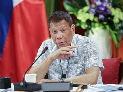 In this photo provided by the Malacanang Presidential Photographers Division, Philippine President Rodrigo Duterte talks at the Malacanang presidential palace in Manila, Philippines, Monday, Sept. 7, 2020. The Philippine president pardoned a U.S. Marine on Monday in a surprise move that will free him from imprisonment in the 2014 killing …