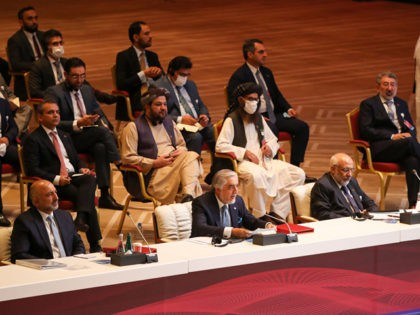 Abdullah Abdullah (C), Chairman of Afghanistan's High Council for National Reconciliation, speaks the opening session of the peace talks between the Afghan government and the Taliban in the Qatari capital Doha on September 12, 2020. (Photo by KARIM JAAFAR / AFP) (Photo by KARIM JAAFAR/AFP via Getty Images)