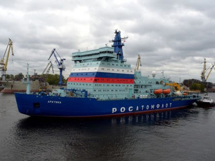 Russia's nuclear-powered icebreaker Arktika leaves the port of Saint Petersburg on September 22, 2020 for its maiden voyage to its future home port of Murmansk in northwestern Russia where it is expected in two weeks after undergoing tests of its performance en route. - Designed to transport liquefied natural gas …