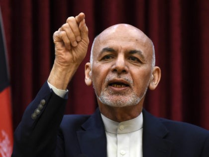 Afghan President Ashraf Ghani gestures as he speaks during a press conference at the presidential palace in Kabul on March 1, 2020. (Photo by WAKIL KOHSAR / AFP) (Photo by WAKIL KOHSAR/AFP via Getty Images)